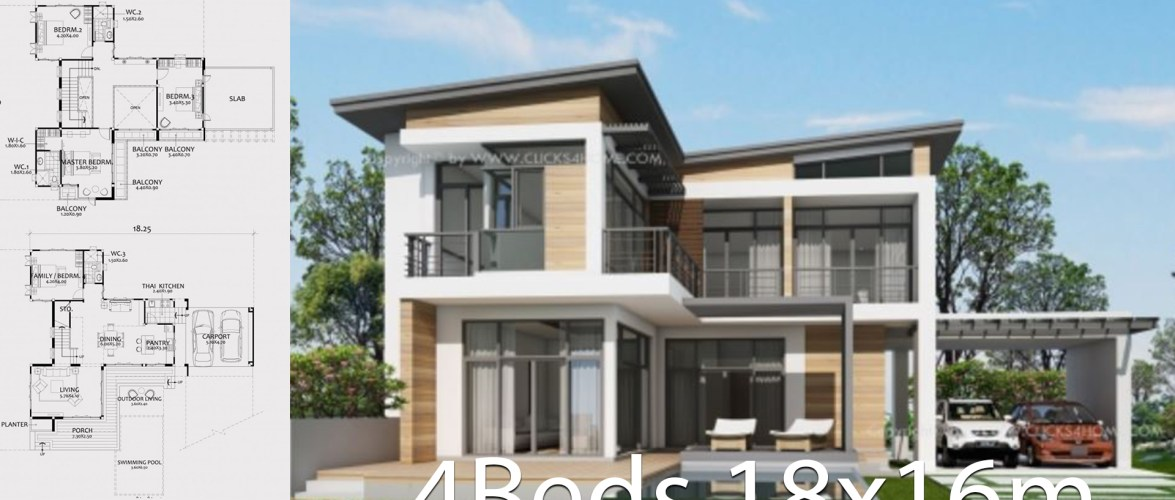 Home design plan 18x16m with 4 bedrooms
