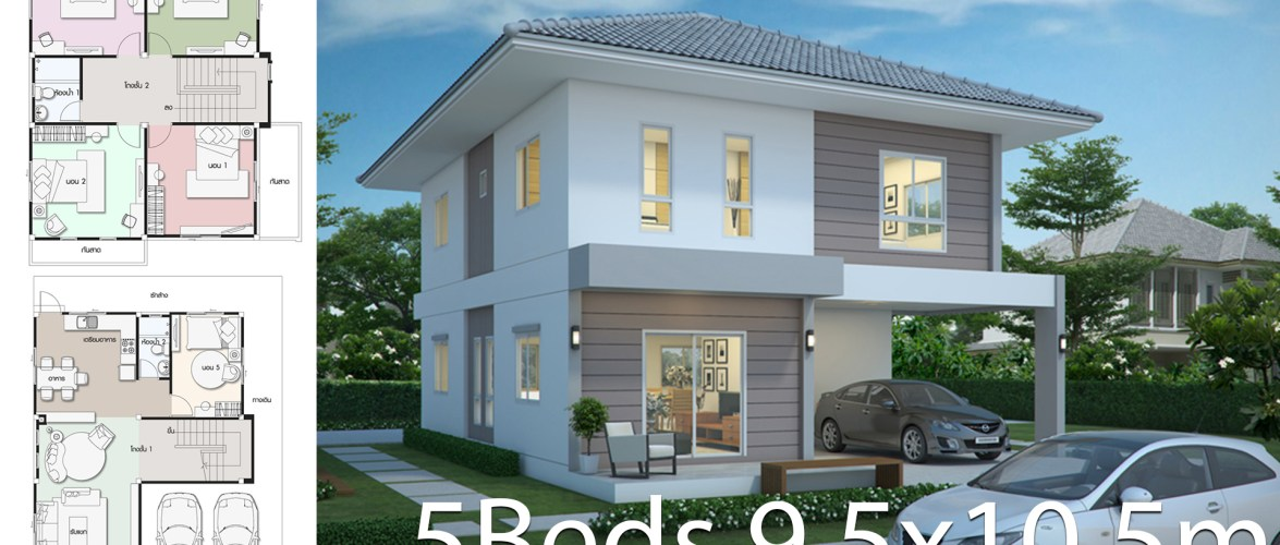 Home design plan 9.5×10.5m with 5 bedrooms