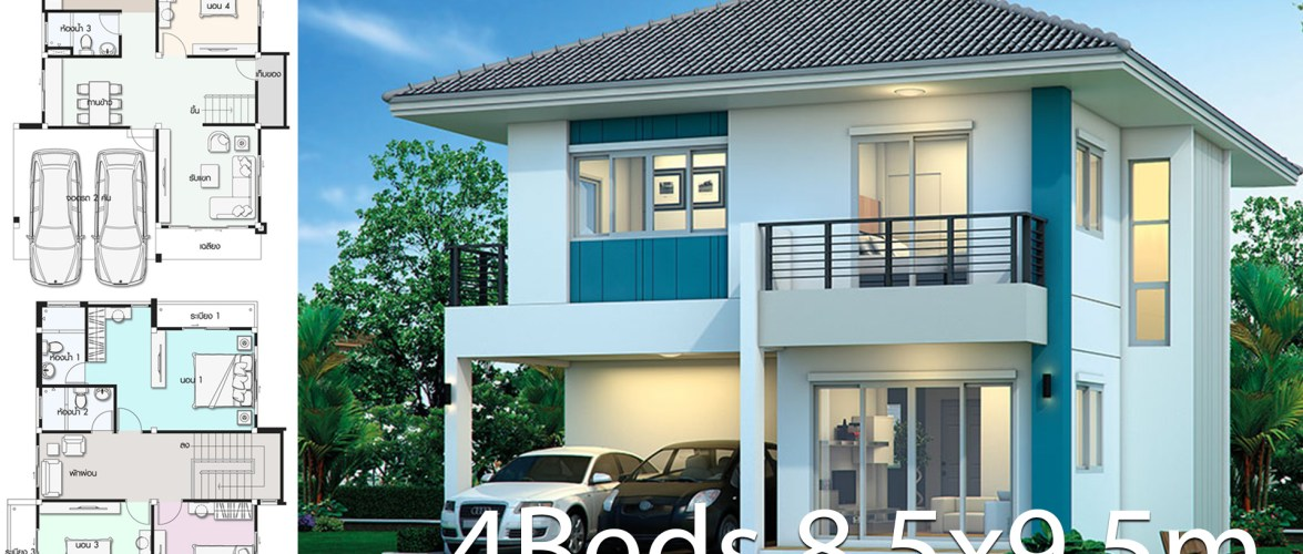 House design plan 8.5×9.5m with 4 bedrooms