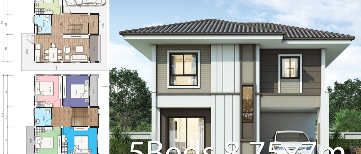 House design plan 8.75x7m with 5 bedrooms