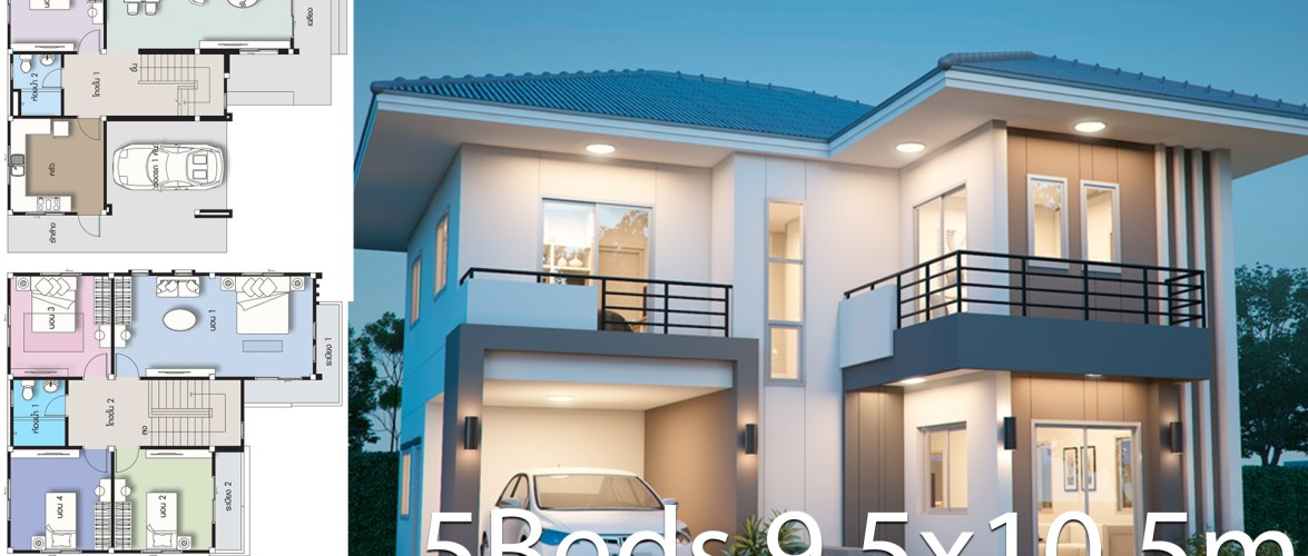 House design plan 9.5×10.5m with 5 bedrooms