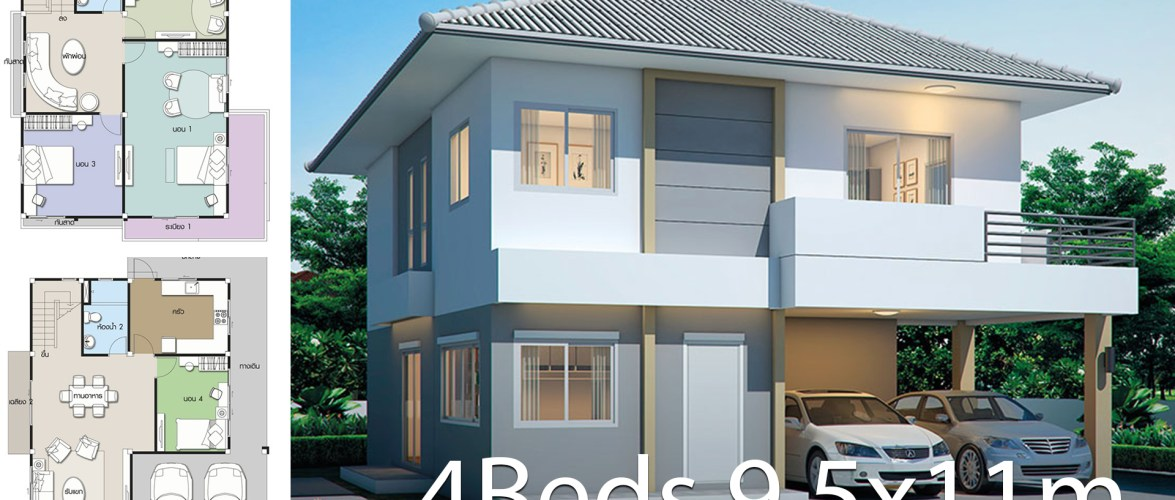 House design plan 9.5x11m with 4 bedrooms