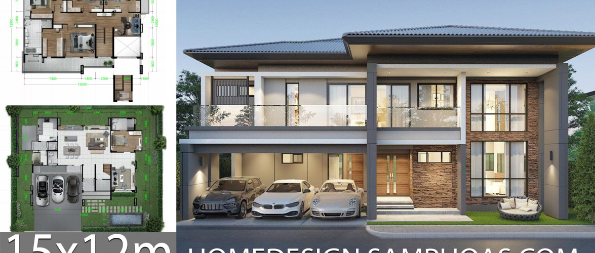 Home Design Plans 15×12.5m with 5 bedrooms