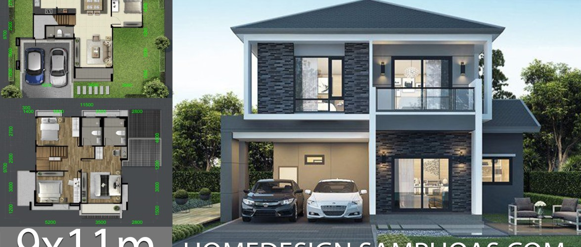 House design Plans 9.7×11.5m with 4 bedrooms