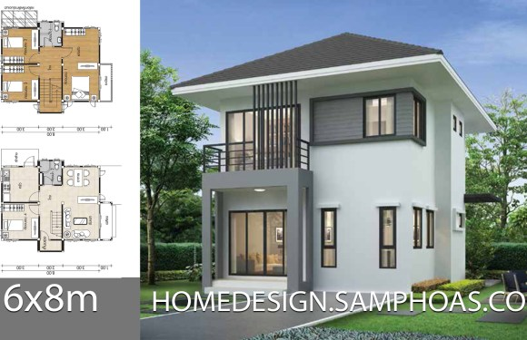 Small House plans 7x8m with 4 bedrooms