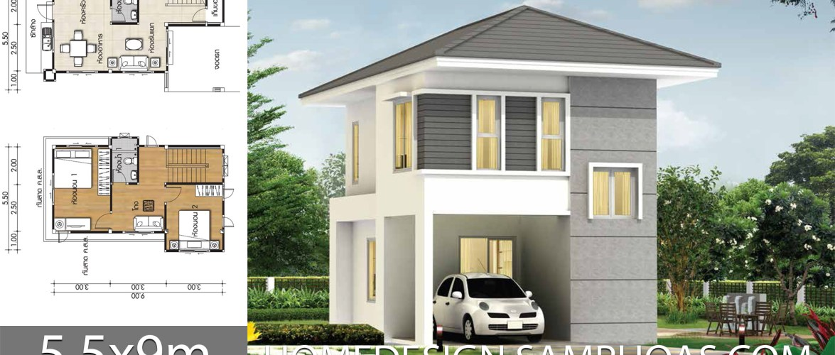 Small house plans 5.5x9m with 2 Bedrooms