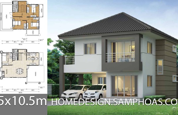 House design plans 8.5×10.5m with 4 bedrooms