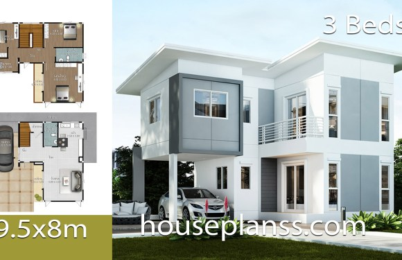 House design Plans Idea 9.5×8 with 3 bedrooms