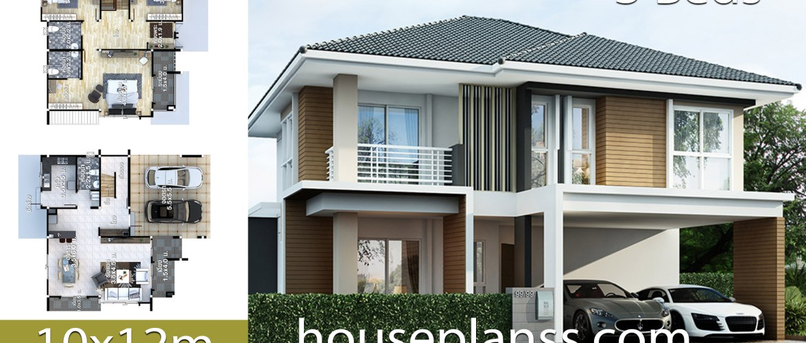 House design plans idea 10×12 with 3 bedrooms