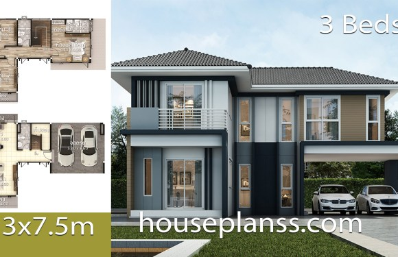House Design Plans Idea 13×7.5 with 3 bedrooms