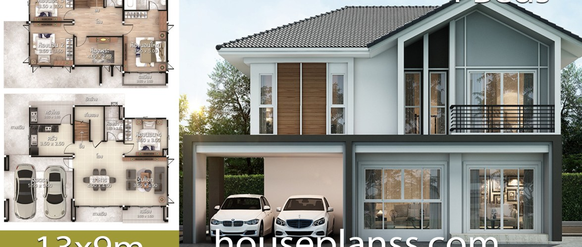 House Plans Idea 13×9 with 4 bedrooms