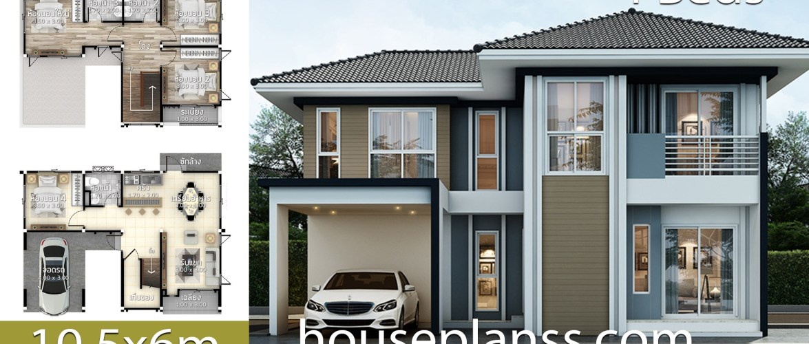 House Design Plans Idea 10.5×6 with 4 Bedrooms