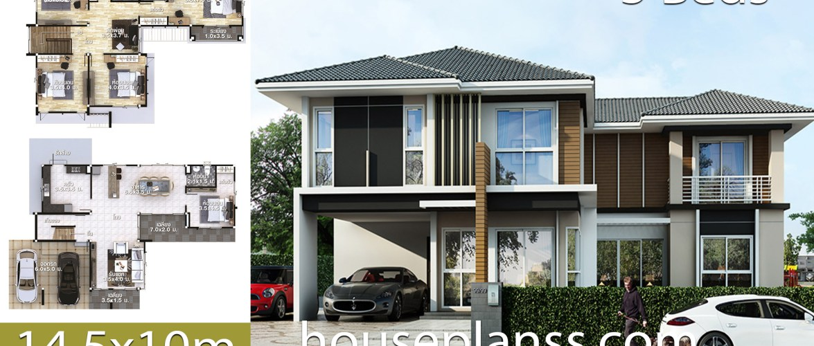 House design Plans Idea 14.5×10 with 5 bedrooms