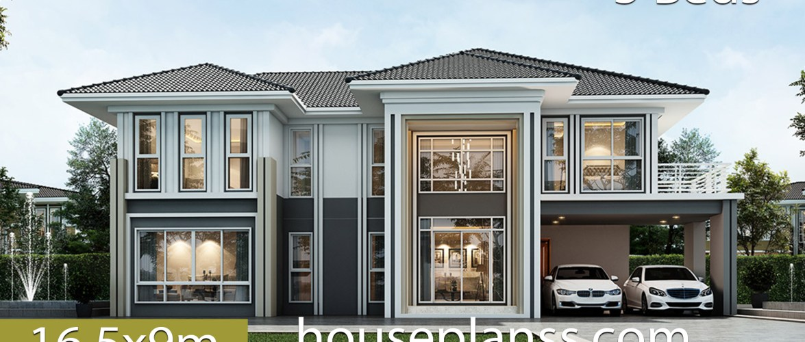 House design Plans 16.5×9 with 5 bedrooms