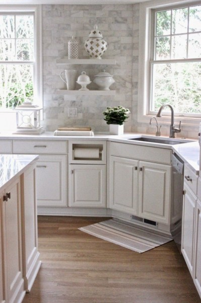 72 Beautiful Kitchen Countertop Ideas with White Cabinets Look Luxurious 2196