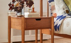 Bedroom Decor Models With Solid Wood Tables With Beautiful Drawers Beside 31