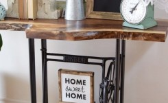 Live Edge Wood Console Table 72