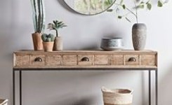 Wood Waterfall Console Table 85