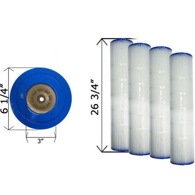 Quad Pack D.E. 80 Cartridge Filter Pentair 178655 C-6980-4