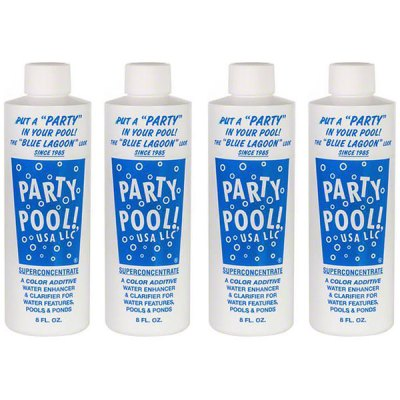 Party Pool Dye Color Additive Blue Lagoon 8oz 47016-00008 - 4 Pack