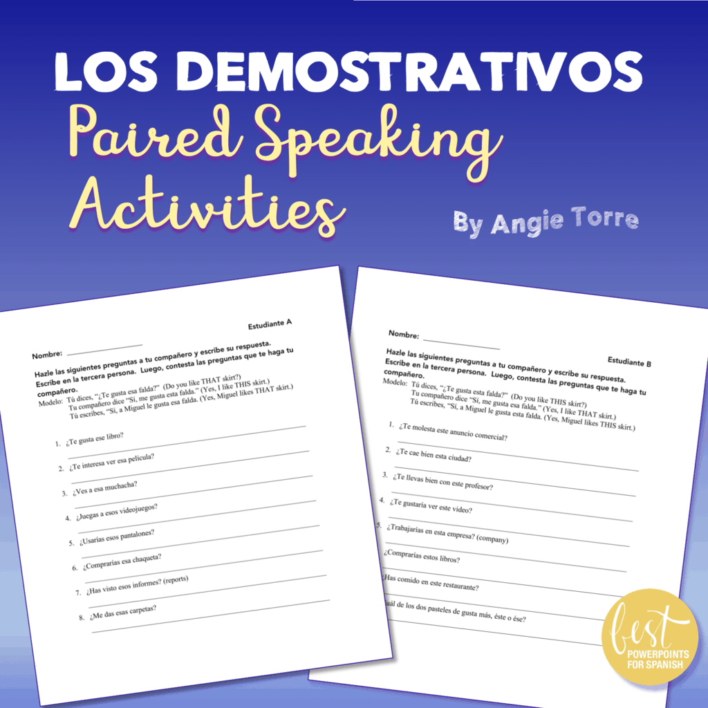 Spanish Demonstrative Adjectives Los Demostrativos