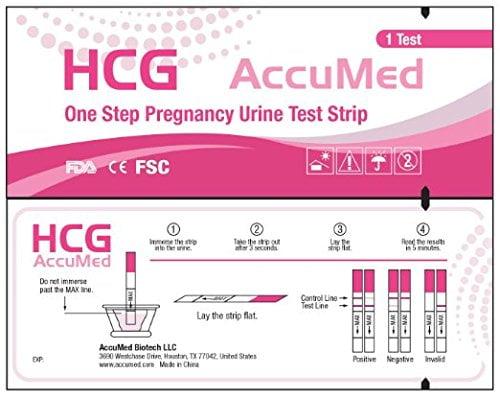 51DbopWHznL 1 - AccuMed® 25 Pregnancy (HCG) Test Strips - Expires 9/2016
