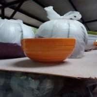ชามลายคลื่น 8 นิ้ว สีส้ม