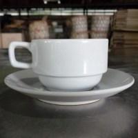ชุดกาแฟทรงซ้อน 200 cc. สีขาว