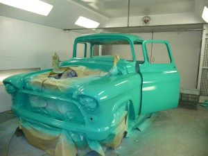 1957 Chevy in Paint Booth