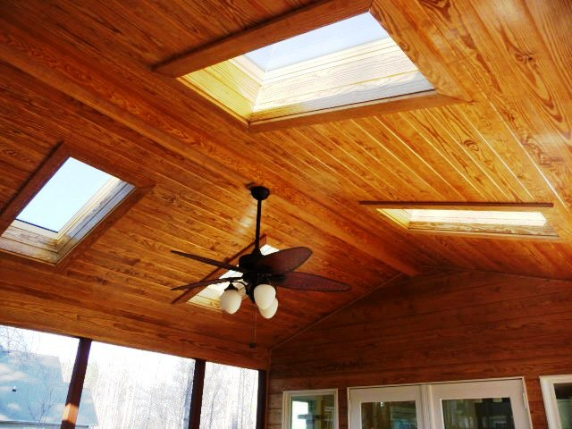 Lake Norman screened porch fan and sky lights
