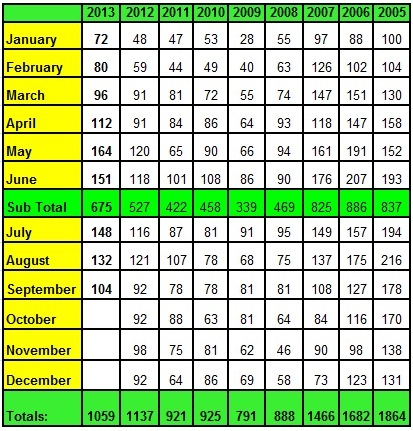 Lake Norman Real Estate's Annual Sales Chart by Month September 2013