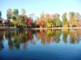 Lake Norman cove with brilliant fall colors
