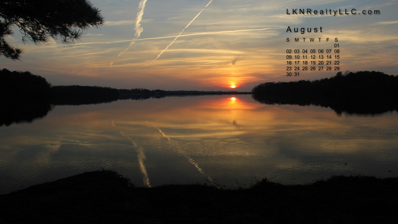 Lake Norman Sunset August Calendar 2015