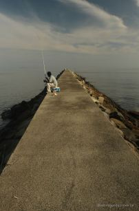 Lonely fisherman along the coast