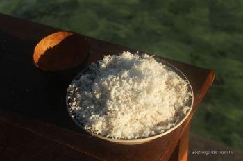 Freshly graded coconut meat