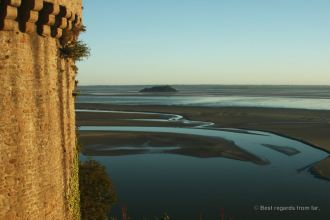 Looking back on Tombelaine from the Mont Saint Michel, France