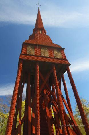 The 40-metre high Hällestad belfry built in 1732 is one of Sweden's highest bell towers, Skansen, Stockholm