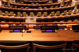 Close-up at the Trusteeship Council at the HQ in New York City