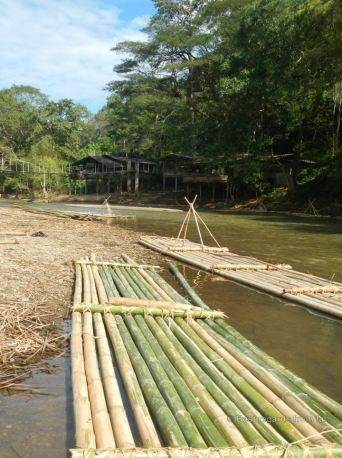 Traditional bamboo floats on the Mae River, Chiang Mai, Thailand