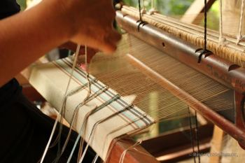 Traditional weaving on the loom, Laos