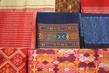 Some of the woven fabrics, the Houey Hong centre, Vientiane, Laos