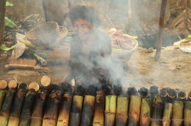 Preparing bamboo sticky rice, Battambang, Cambodia