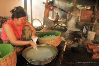 Three generation of rice noodle making, Battambang, Cambodia