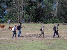 Men leaving the village for hunting, Akha village trekking, Laos