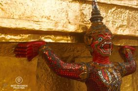 Close-up of a monkey demon at the Grand Palace, Bangkok, Thailand