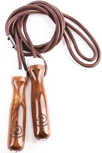 Jump Rope - Premium Jump Rope Golden Stallion for Genuine Jump Rope Workout Experience - Gain More Energy and Get Better Body Shape with Weighted Jump Rope - Wooden Handles - Adjustable Leather Jump Rope Ba