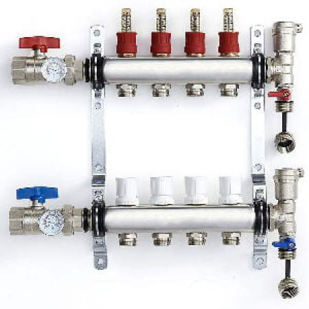 PEX Manifold Radiant Floor Heating Set 4 Loop System Stainless Steel Heated Hydronic Heating Oxygen Barrier Tubing