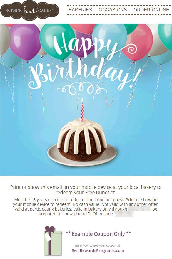 Nothing Bundt Cake Coupons : nothing, bundt, coupons, Nothing, Bundt, Cakes, Birthday, Rewards, Programs