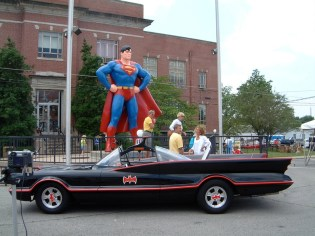 super & batmobile