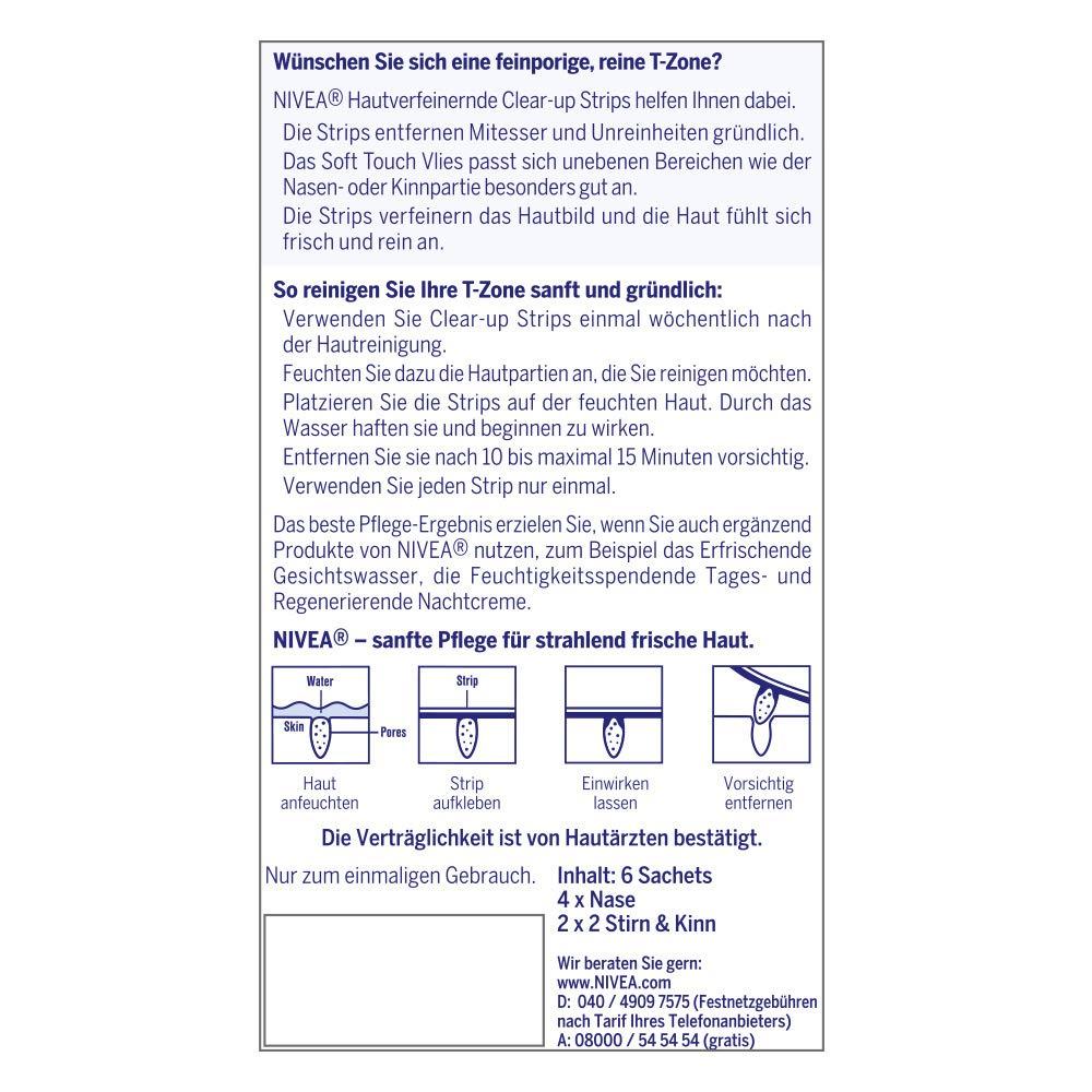 nivea clear-up strips, streifen zur hautverfeinerung und  mitesser-entfernung, nase, stirn und kinn, 1 packung (1 x 4 nasenstreifen,  2 x 2